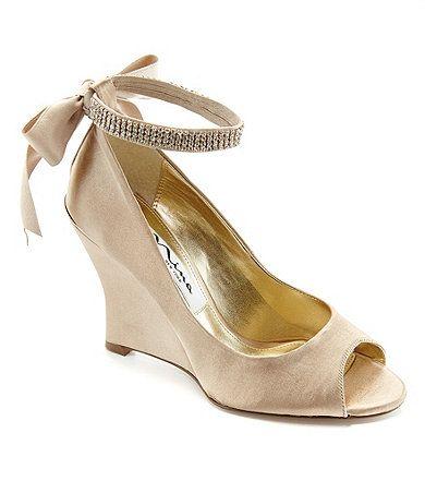 949008098d0a58 Nina Emma Satin Rhinestone Ankle Strap Peep-Toe Wedges