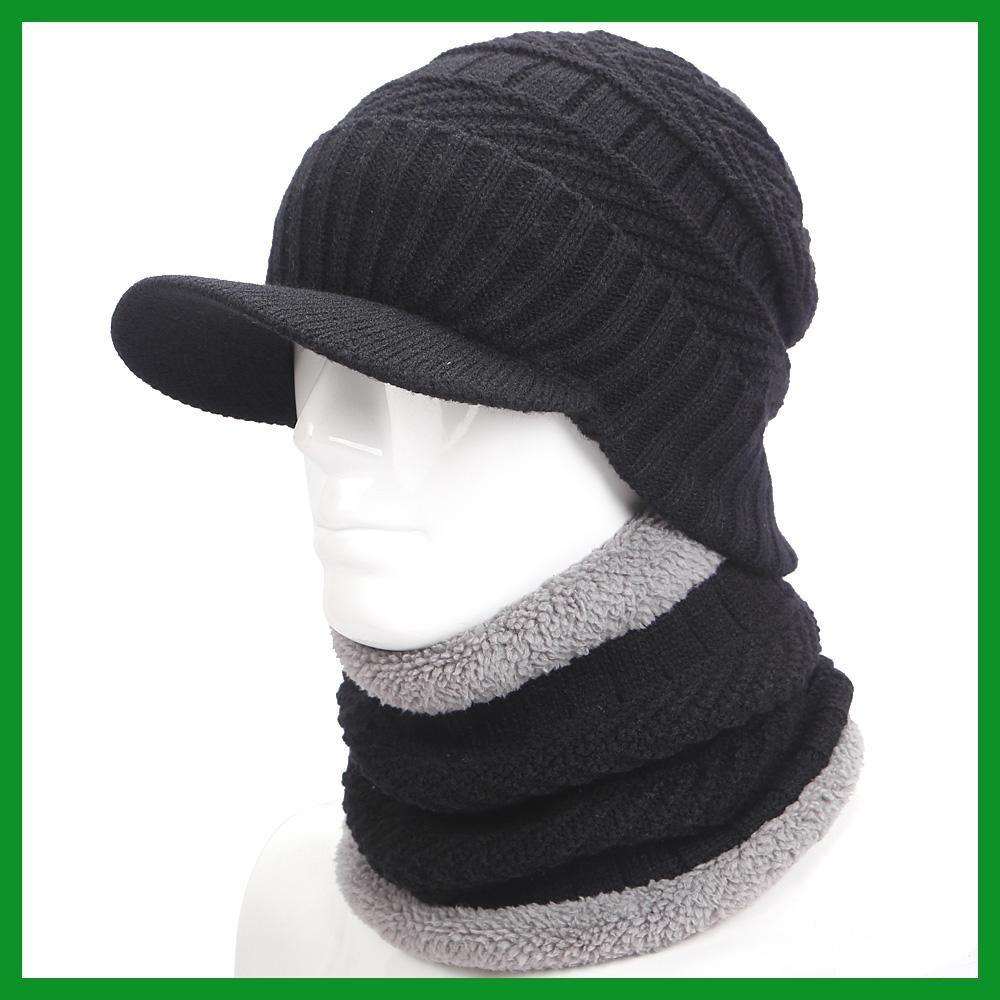 c55d3d35 warmer winter hat knit cap scarf cap Winter Hats For men knitted hat ...