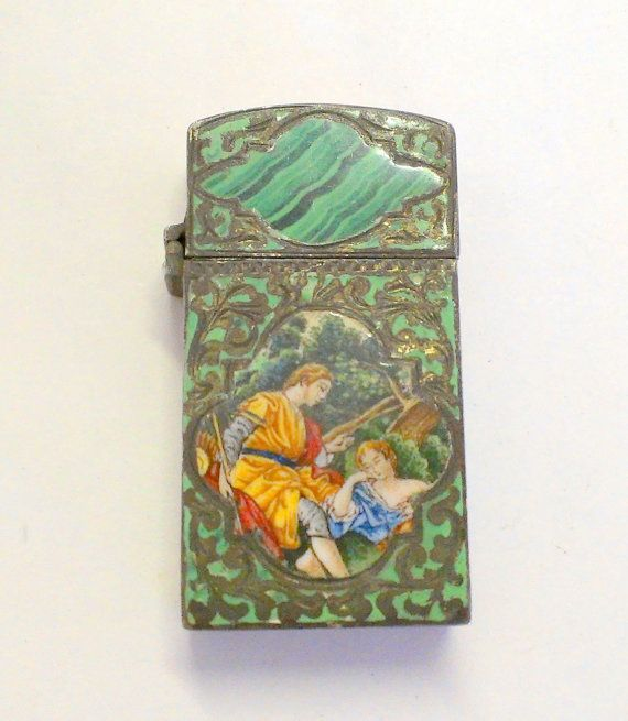Antique Enameled Silver and Malachite Lighter