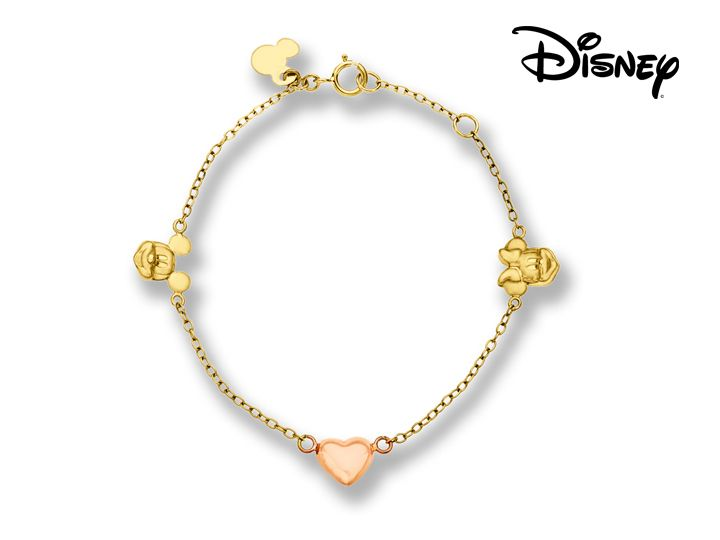 Show her life can be just as enchanting as a fairytale! Stylized forms of Disneys Mickey and Minnie mouse are joined by a glossy heart crafted in lustrous 14K yellow and pink gold. Piece measures 6 1/2 by 5/16 inches.