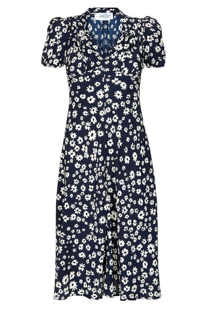 Tara Starlet 1940s 40s Style: Tara Starlet Sweetheart Dress Navy Daisy Tea-dress Vintage