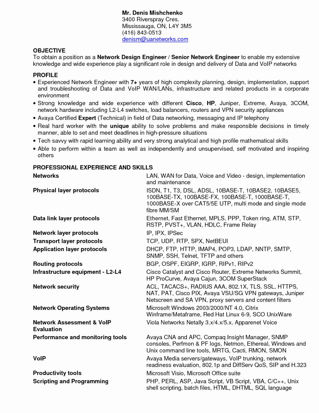 23 Network Engineer Resume Example in 2020 Sample resume