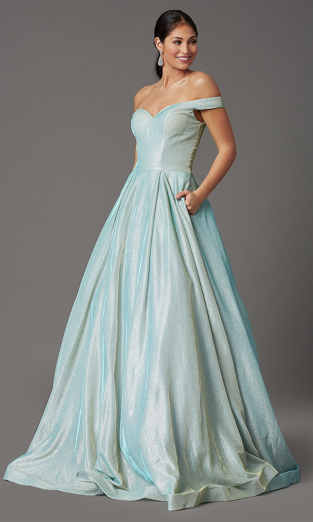 Long Off Shoulder Mint Green Prom Dress Promgirl Mint Green Prom Dress Green Prom Dress Ball Gowns [ 1666 x 1000 Pixel ]