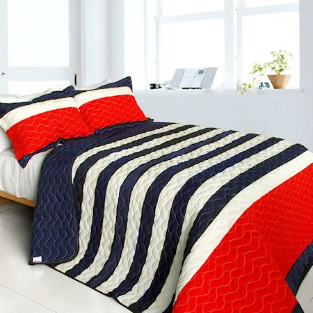 Americana Red Navy Blue White Striped Teen Boy Bedding Full/Queen Quilt Set  Oversized Bedspread