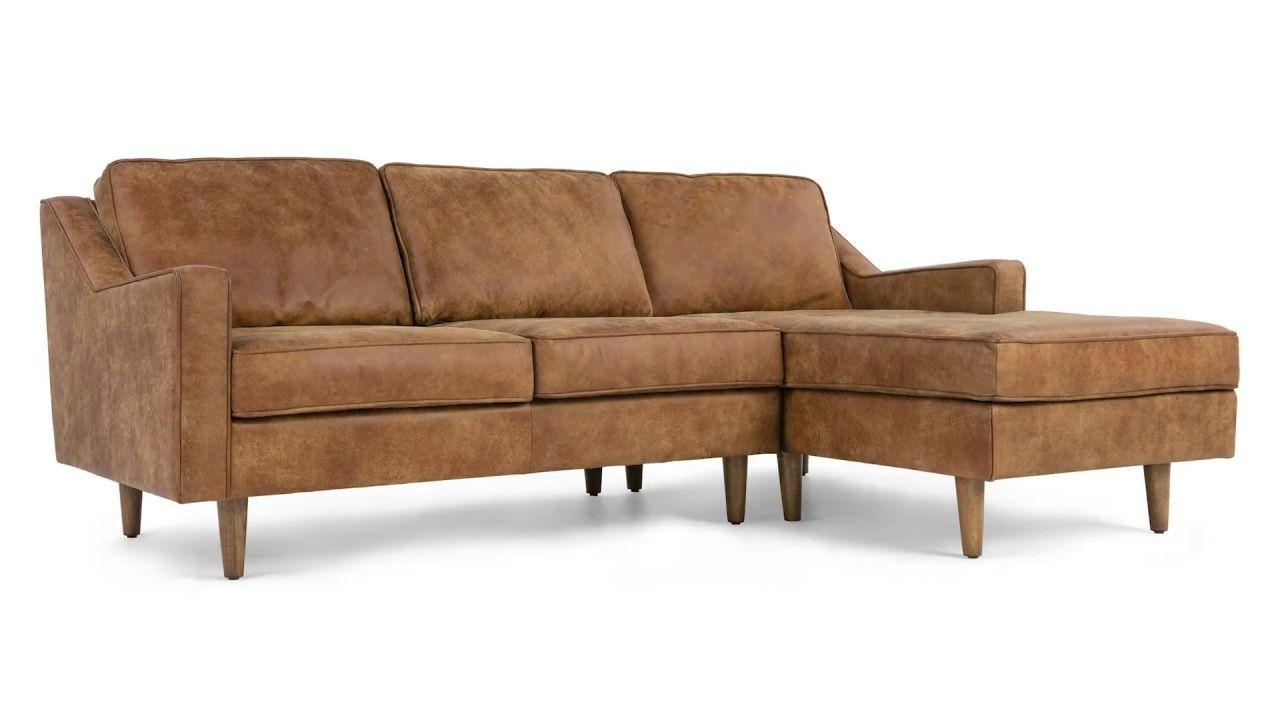 Dallas Right Hand Facing Chaise End Corner Sofa Outback Tan Premium Leather Made Com Corner Sofa Design Corner Sofa 3 Seater Leather Sofa