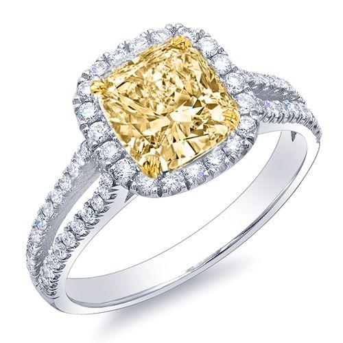 146 Ct Canary Fancy Yellow Cushion Cut Diamond Engagement Ring EGL