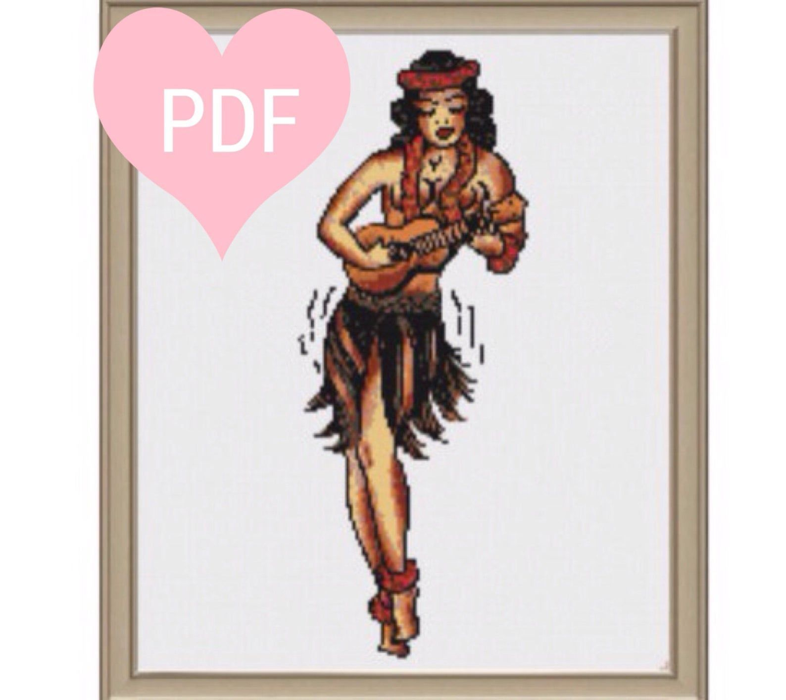 Sailor Jerry Pin-Up Girl Cross Stitch Pattern PDF Instant | Etsy Sailor jerry tattoos