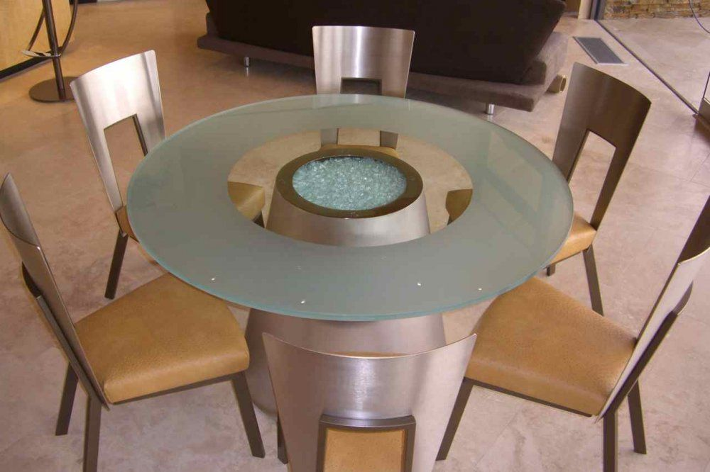 Round Glass Breakfast Table Top Frosted Contemporary Glass Table