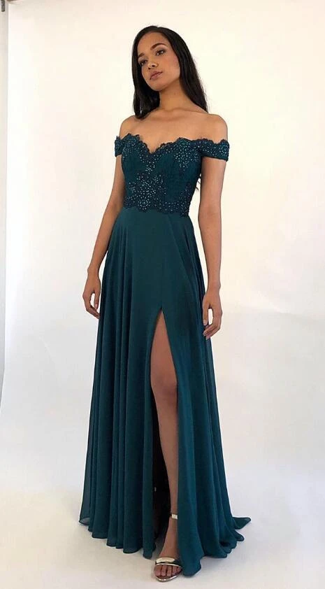 Off Shoulder Long Prom Dress with Applique and Beading,8th Graduation Dress, Evening Gown,Winter Formal Dress CD986 -   15 dress Graduation green ideas
