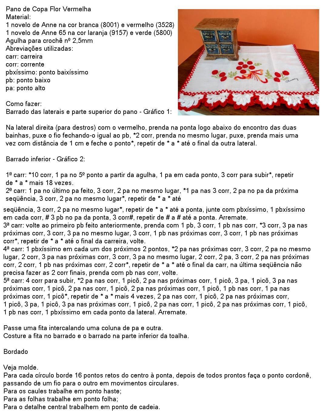Receita Anne 65 Pano de Prato Flor Vermelha