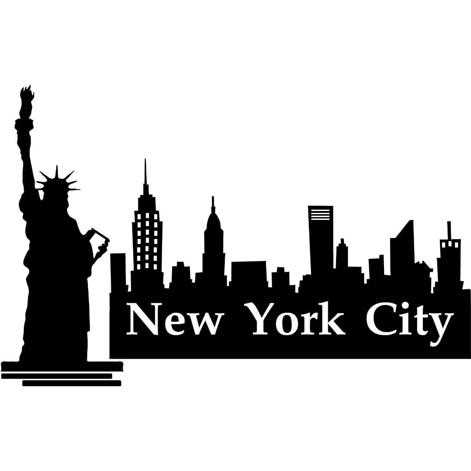 Statue Of Liberty Wall Sticker New York Skyline Black And White Silhouette 61vzi2tm7pl