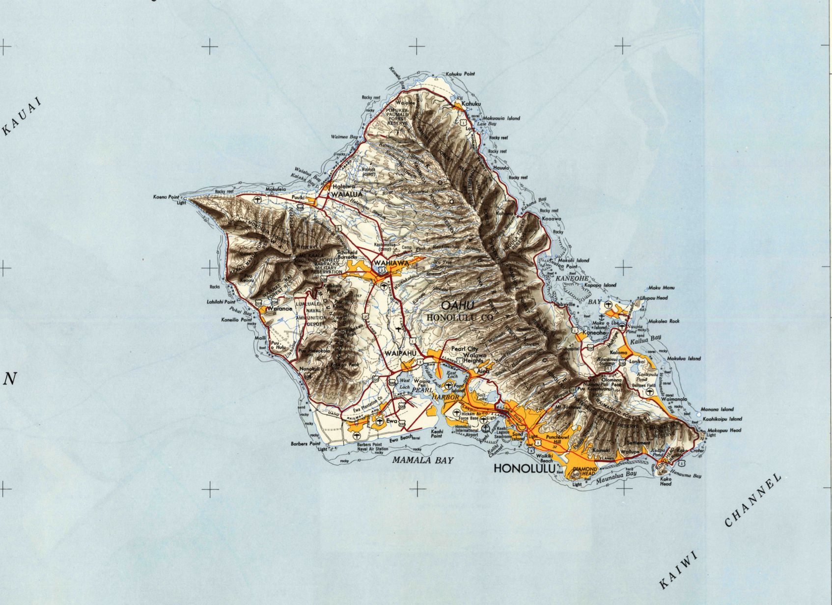 Topographic Map Oahu.Oahu Hawaii 1954 Source Usgs Historical Topographic Map Viewer