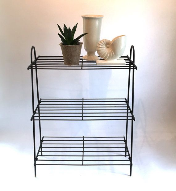 1950s Black Wire Plant Stand 4 shelves outdoor living storage ...