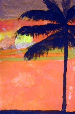 Sunset paintings with palm tree silhouettes