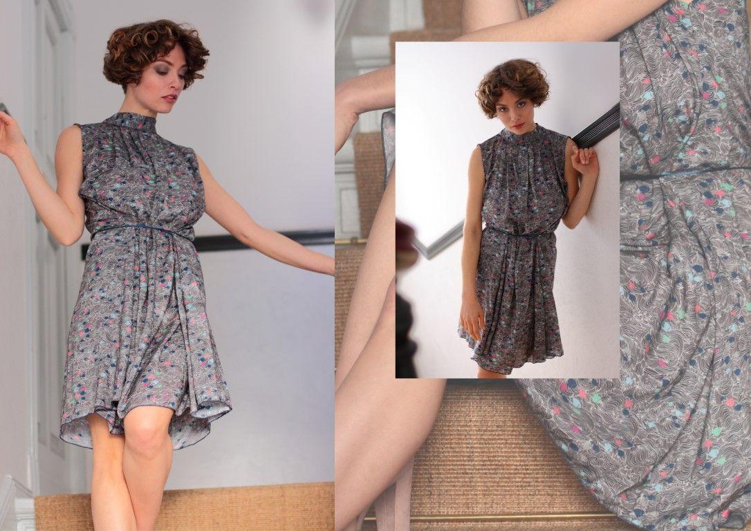 Asymmetrisches Kleid, Drape dress, schwarz weißes Kleid, Party Kleid ...