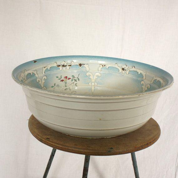 Antique French Enameled Wash Basin Vintage Enamelware