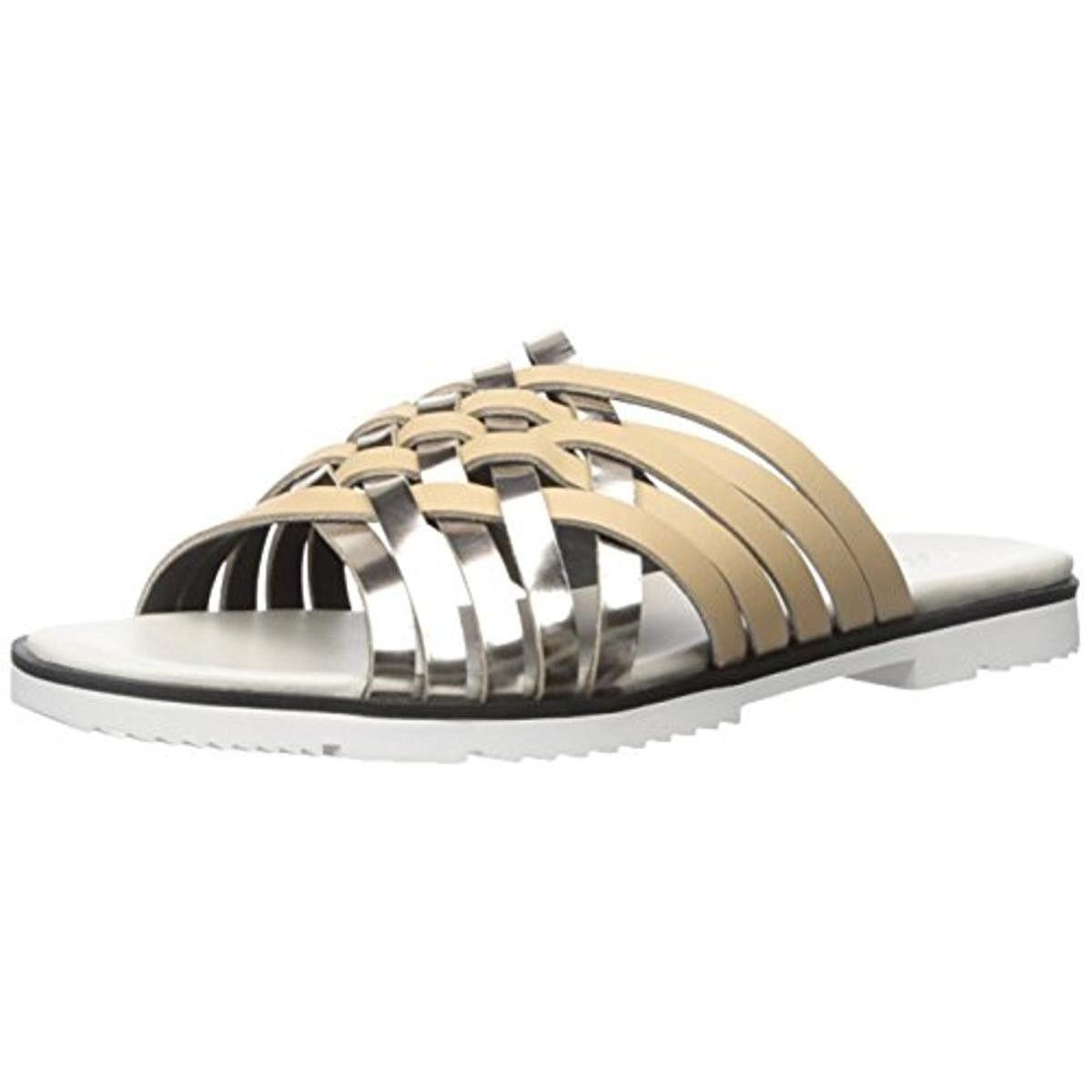 Calvin Klein Womens Marimba Leather Metallic Huarache Sandals
