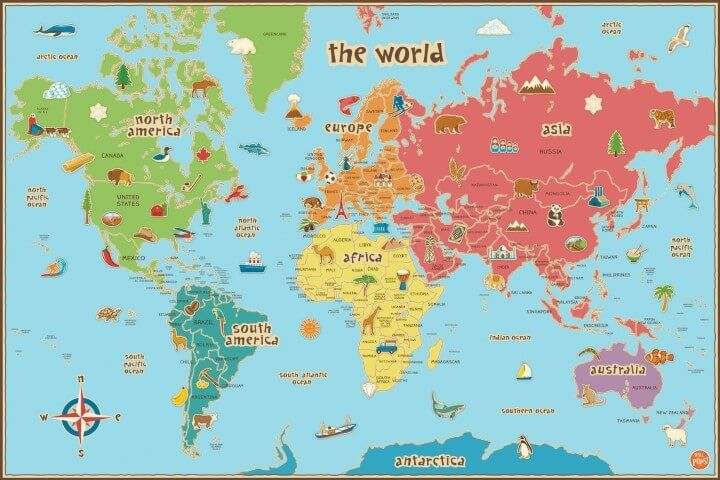 Wall Pops Kids World Dry Erase Map Decal Mapping The World - World maps with countries and states for kids