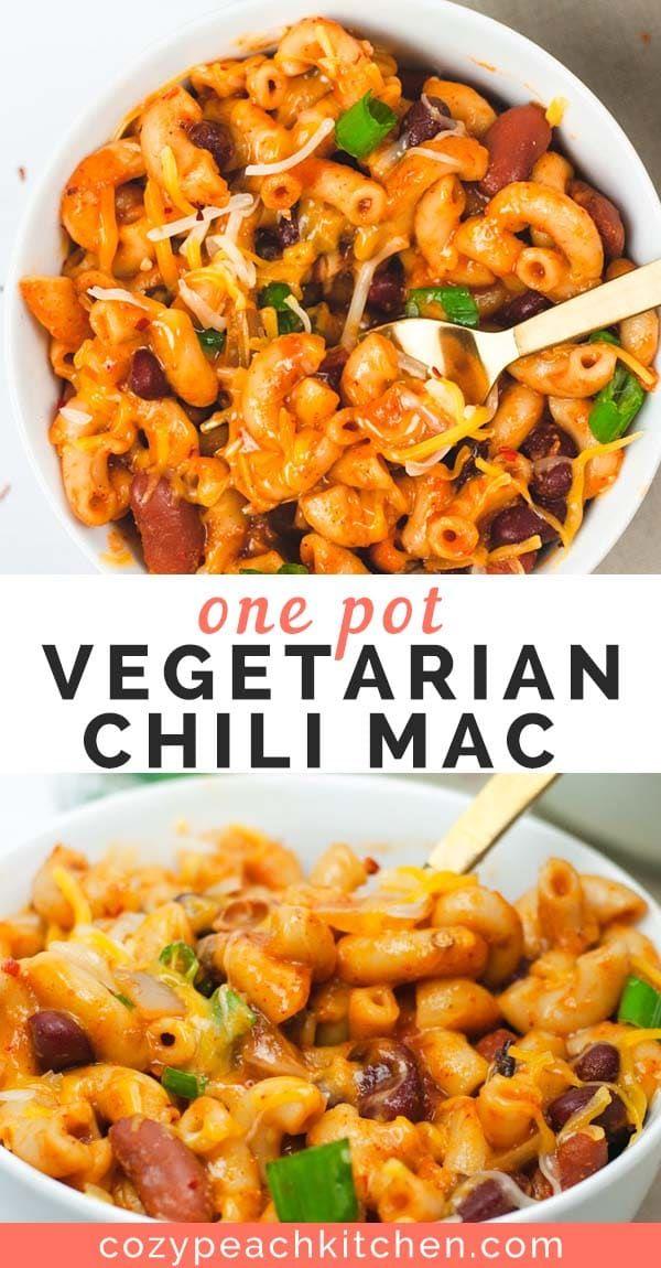 One Pot Vegetarian Chili Mac #vegetarianrecipes