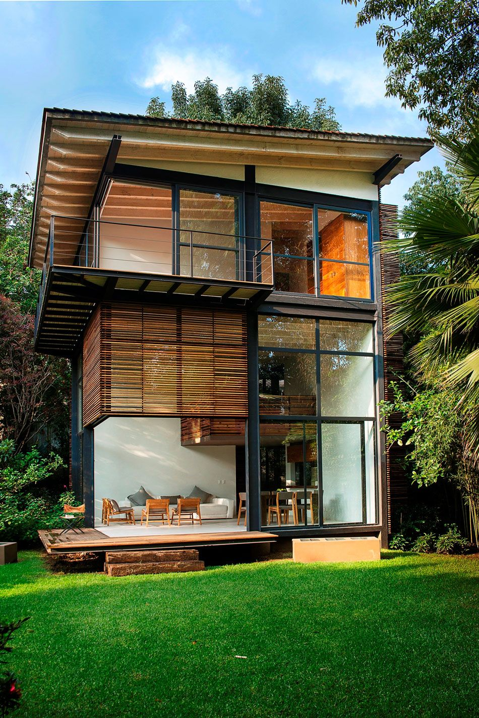 Beautiful black brown wood glass modern design small modern nature garden house wall glass deck chairs