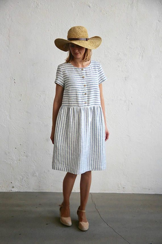 ebeea94634 Linen dress in white and blue stripes. Made of OEKO tex certified ...