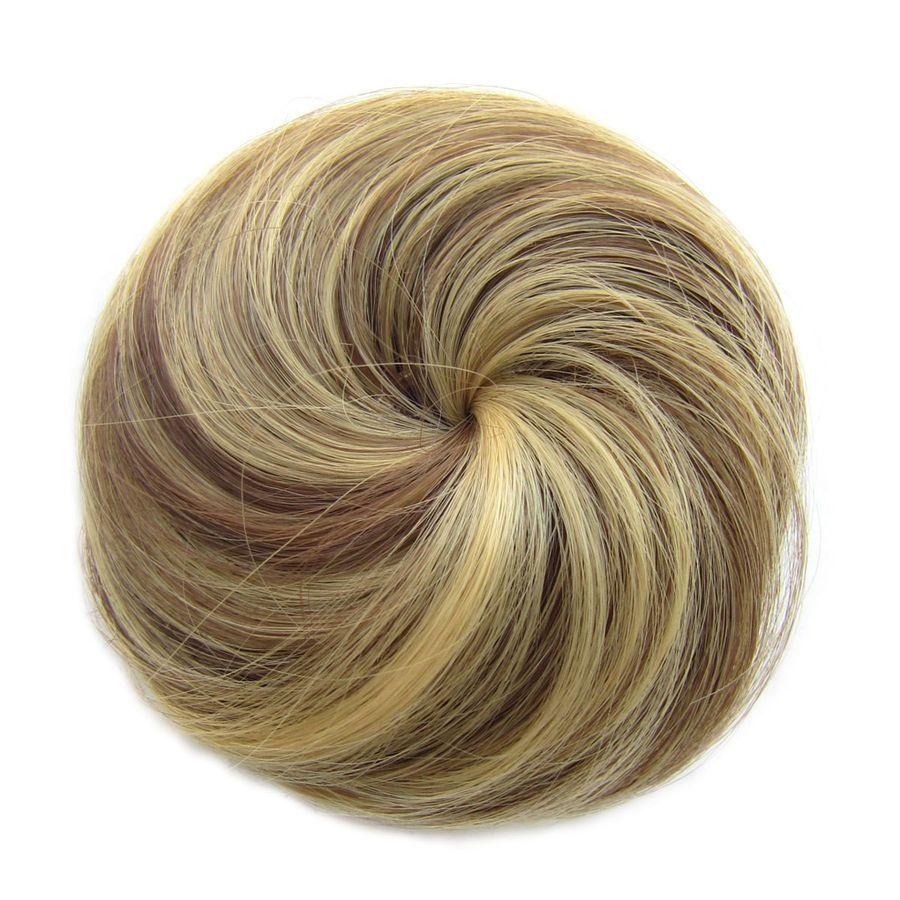 Straight chignon drawstring clip in hair bun donut updo cover hair