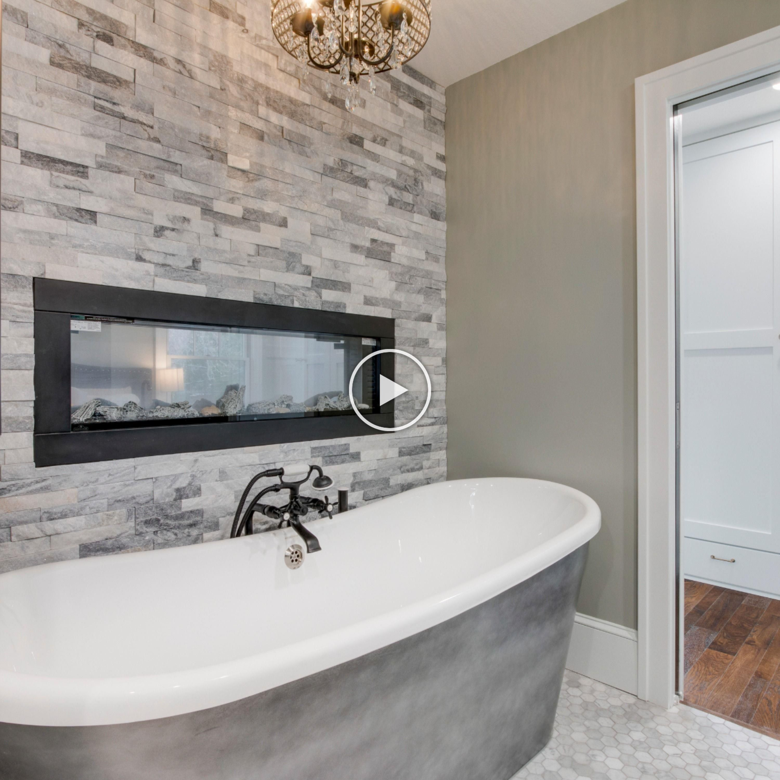 The Master Bathroom Of Our Home Addition Includes A Fireplace Over