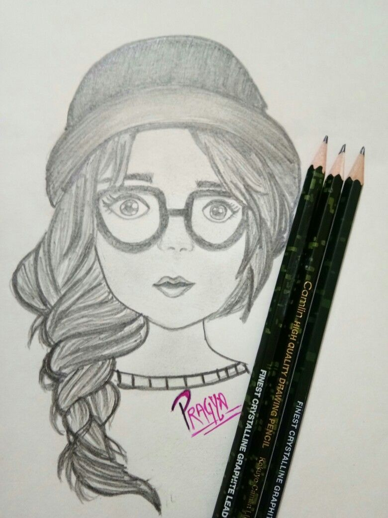 Such a good sketch of girl with glasses simple pencil drawing😎😄 pragya upadhyay