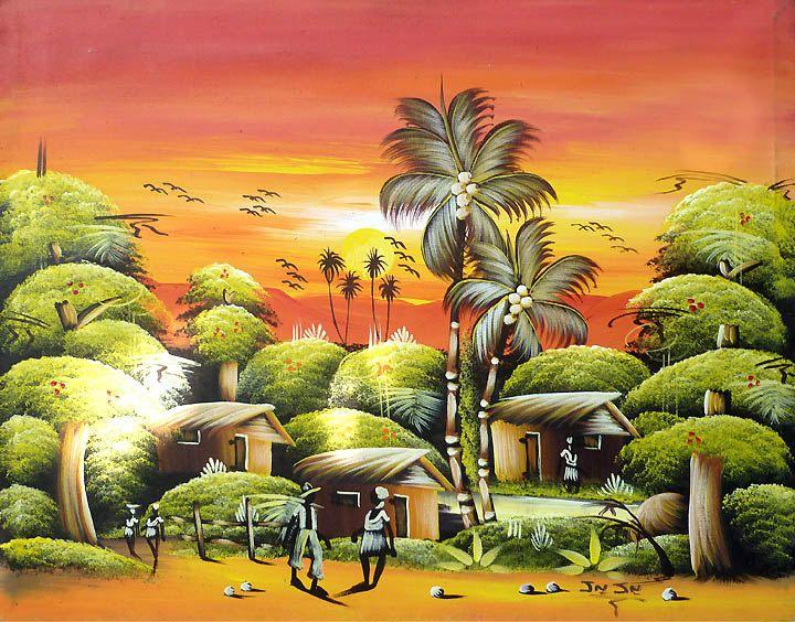 Haitian Canvas Painting -Haitian Village Scene - Art of Haiti ...