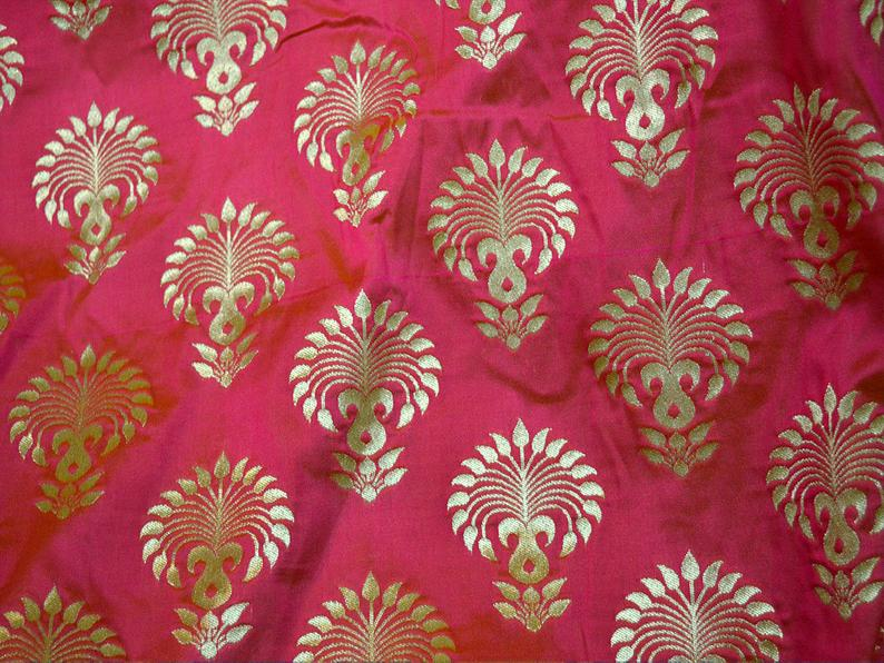 Indian Fabric Magenta Brocade Fabric By The Yard Banaras Etsy Sold By The Yard Sofa Cover Broca In 2020 Bow Wedding Dress Blush Wedding Gown Wedding Dress Fabrics