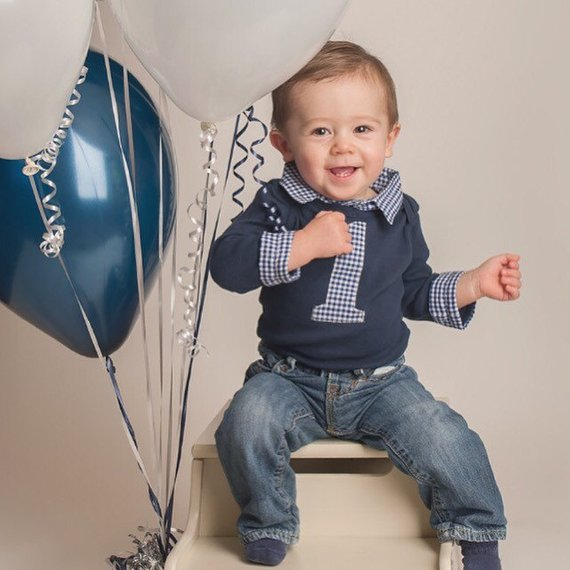 Cake Smash Outfit Boys Baby Boy First Birthday Shirt Navy With Blue Gingham