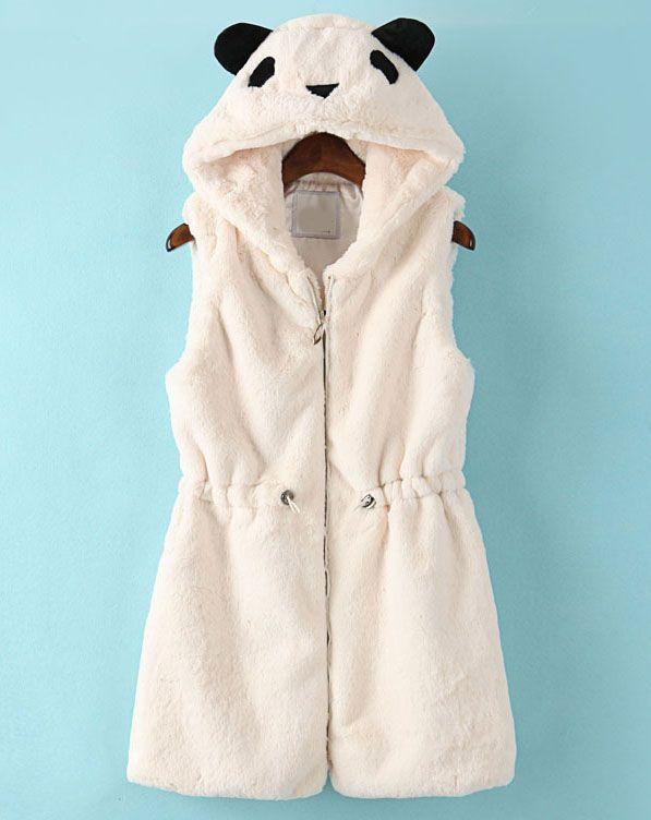 White Hooded Sleeveless Drawstring Bear Style Vest