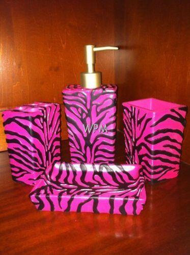 Pink And Black Animal Print Bathroom Accesories