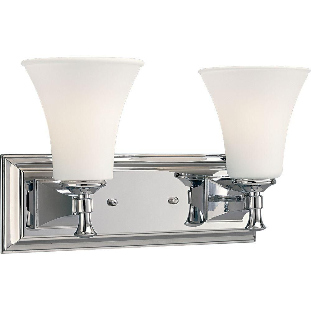 Progress Lighting Fairfield Collection 2 Light Chrome Vanity Light With Opal Etched Glass Shades Vanity Lighting Progress Lighting Bath Fixtures