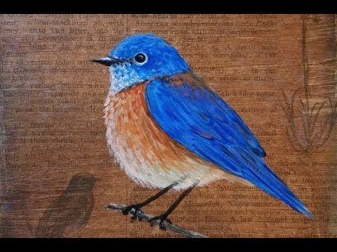 Bluebird Painting Tutorial Free Acrylic Lesson Pawgustart Painting Bluebird Painting Painting Tutorial Artist Painting