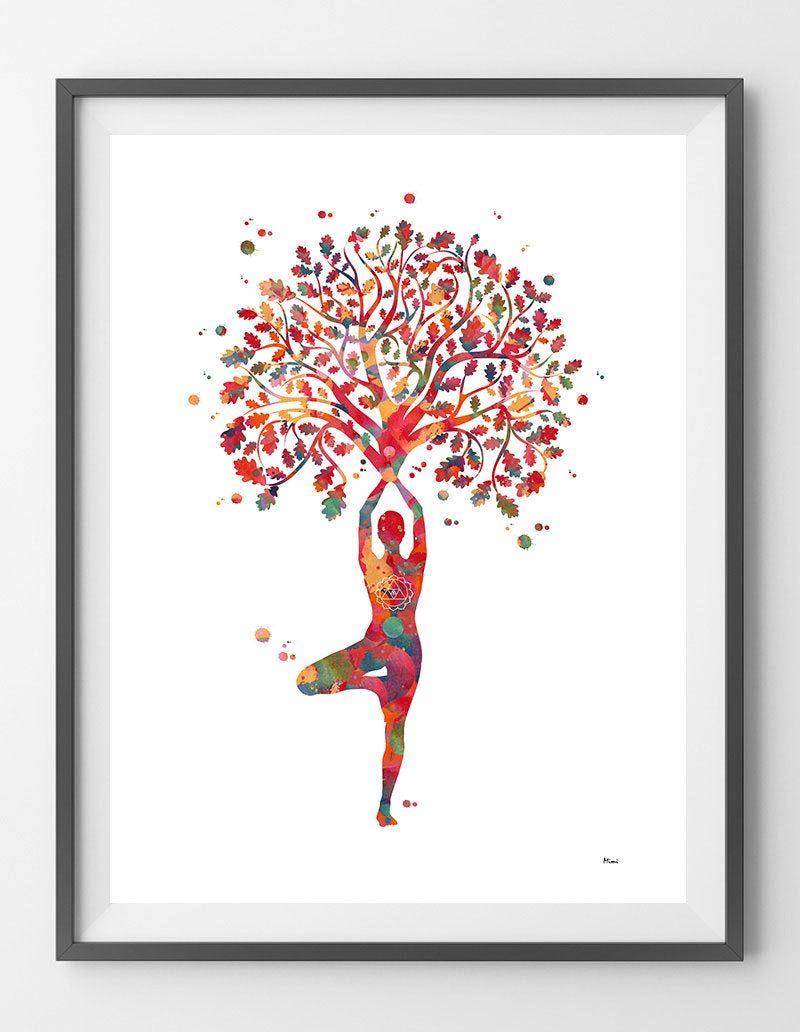 Yoga Tree Of Life Watercolor Print Yoga Tree Pose Meditation Etsy Tree Illustration Meditation Art Watercolor Print