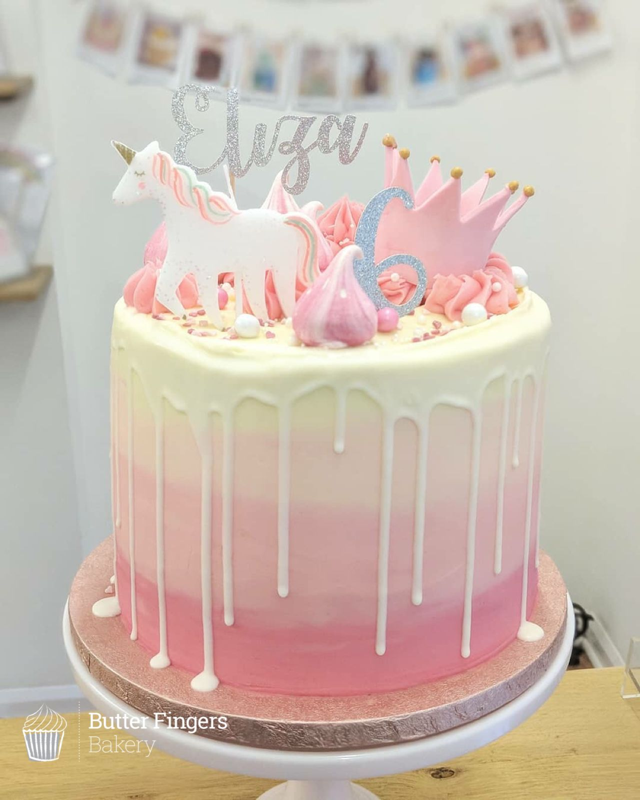 Super Girly Pink Unicorn And Princess Themed Cake For A Girls 6th Birthday Birthdaycake Party Themedcake Pretty