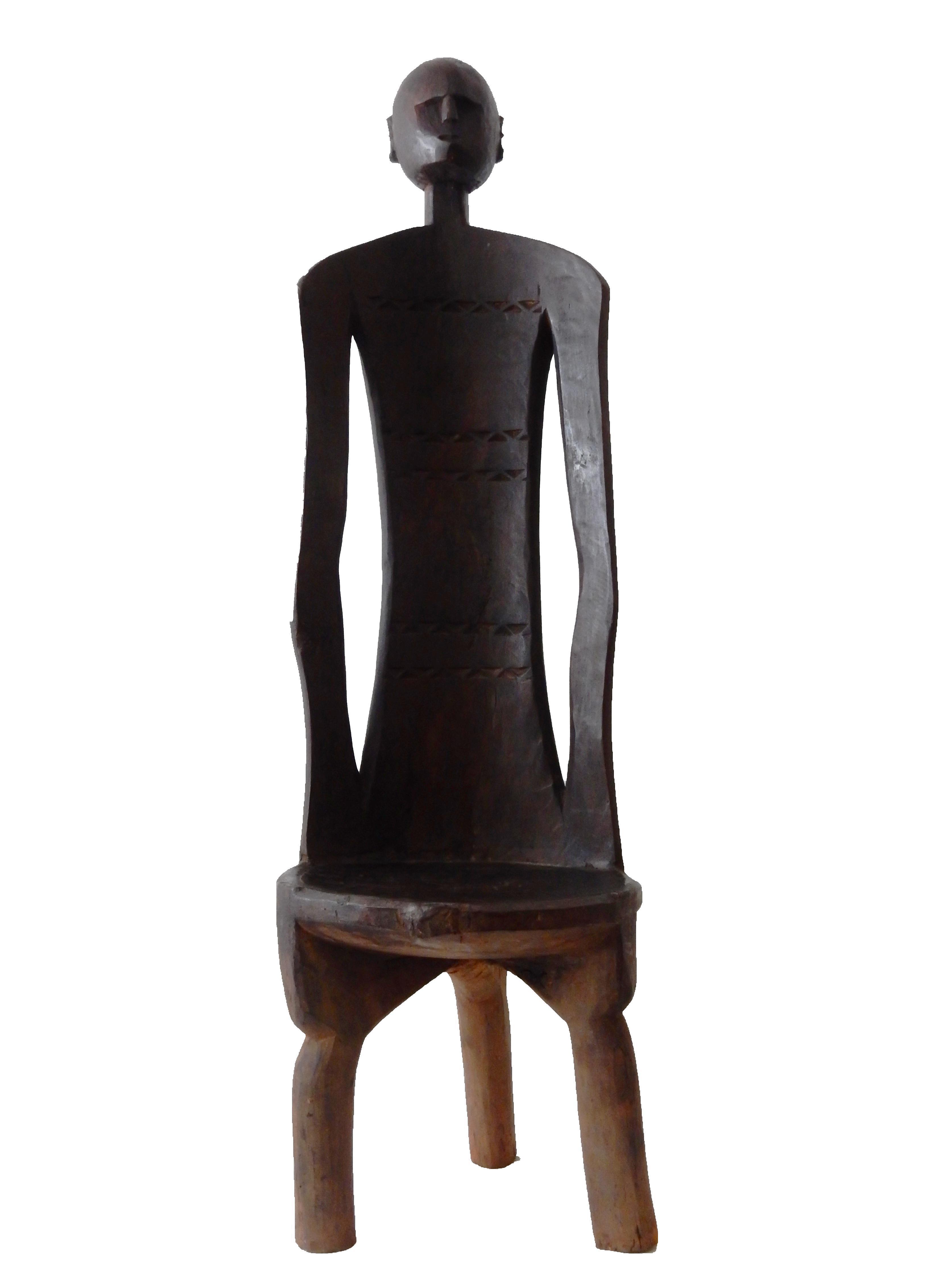 African 3 Legged Makonde Chair On Chairish Com Wood Chair Chair Geometric Chair