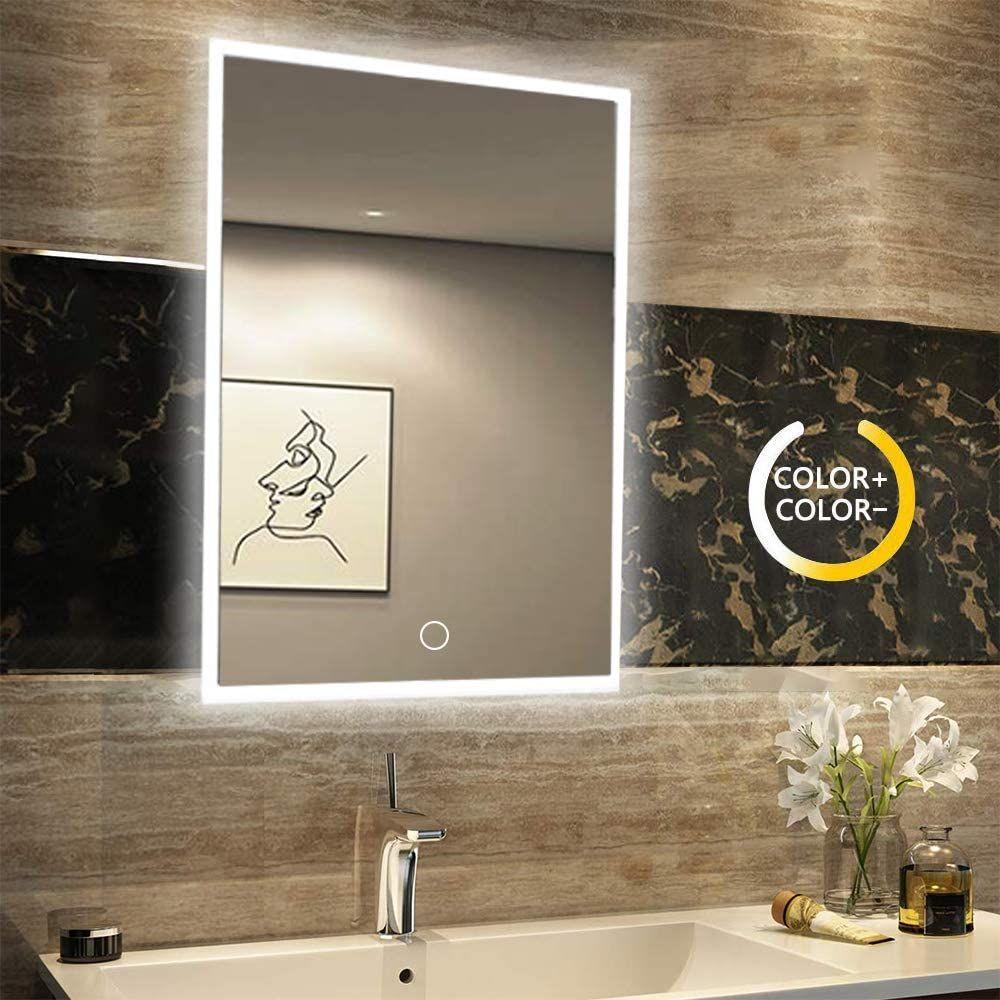 Namotu Badspiegel 600mm800mm Spiegel Eckig Mit Energiesparender Led Beleuchtung Kaltweiss Ip44 Energiesparend Gesche Badezimmerspiegel Badspiegel Beleuchtung