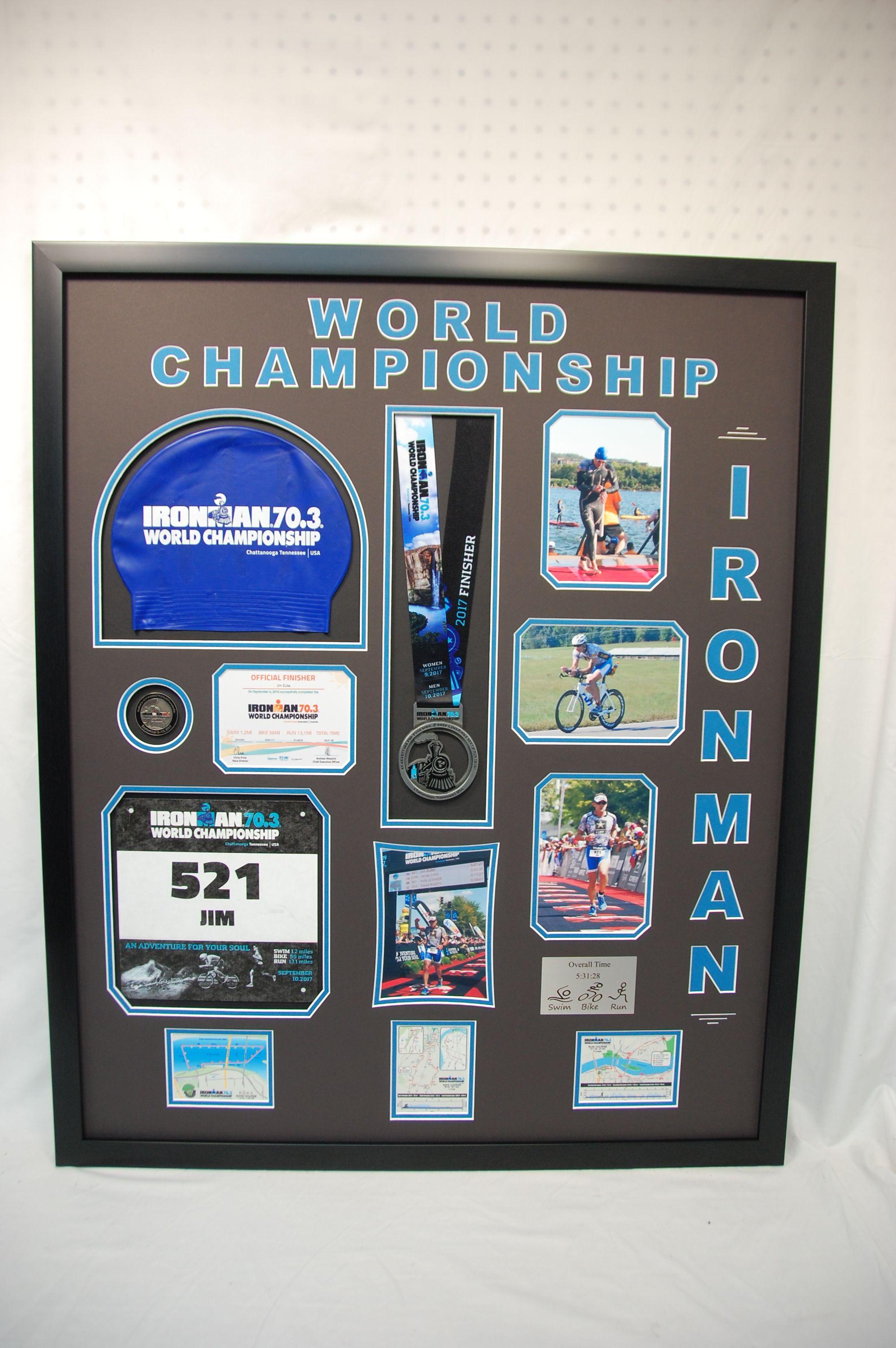 24 X 30 Ironman World Championship Sports Frame Display We Mounted The Swim Cap Race Bib Medal And Num Frame Display Swim Cap Display Sports Shadow Boxes