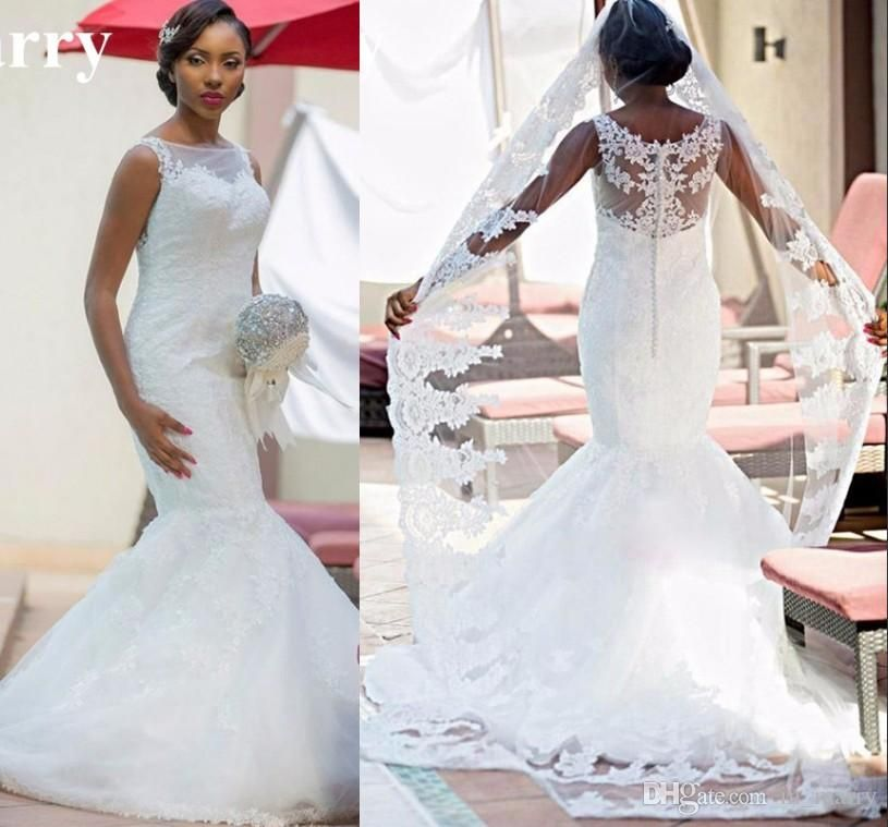 Sexy Vintage Lace African Nigeria Mermaid Wedding Dresses