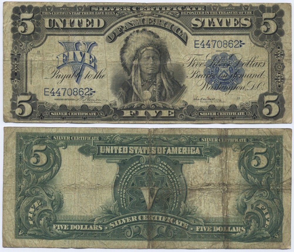 Five 5 dollars dollar bill money design indian fellow united five 5 dollars dollar bill money design indian fellow united states of america vs silver certificate xflitez Images