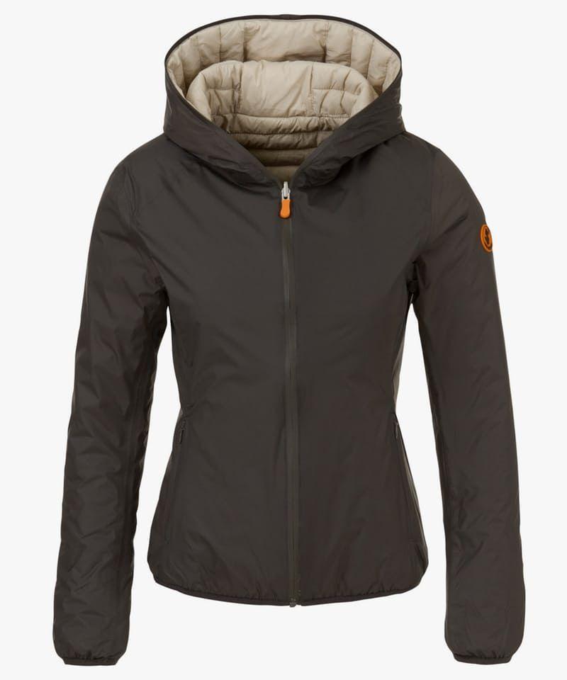 Women's Hooded Reversible Jacket in Iron Grey