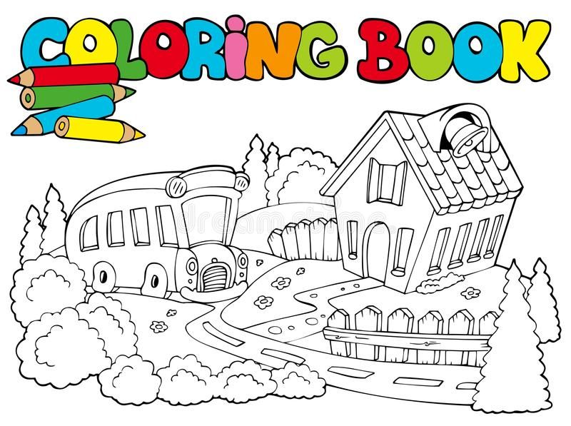 Coloring Book With School And Bus Illustration Affiliate Book Coloring School Illustration Bus A Coloring Books Vector Illustration Illustration