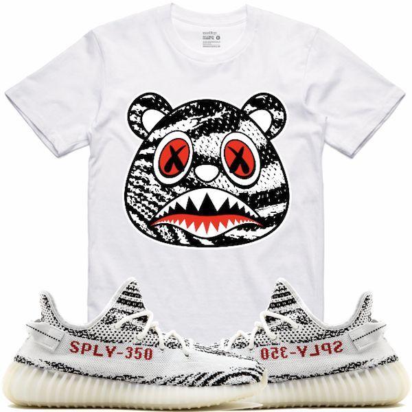 6fc20f21218996 Zebra Baws White Sneaker Tees Shirt - Yeezy 350 Boost Zebra