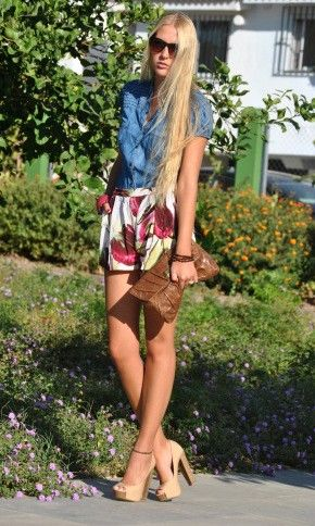 love the shorts and denim top