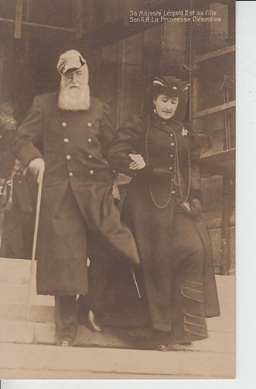 King Leopold II and his daughter Princess Clementine of Belgium are photographed here near the end of his life. Leopold died in 1909 at age 74. He is remembered unkindly by history for his exploitation of the Belgian Congo. Princess Clementine married Napoleon Victor Bonaparte, a relative of THE Napoleon Bonaparte. But like many of the Bonapartes the couple did not breed well, having only one son and one daughter. We must always remember the first job of the royals is to breed more royals.