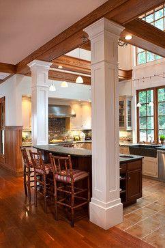 Kitchen islands with pillars kitchens with columns - Kitchen island with post ...