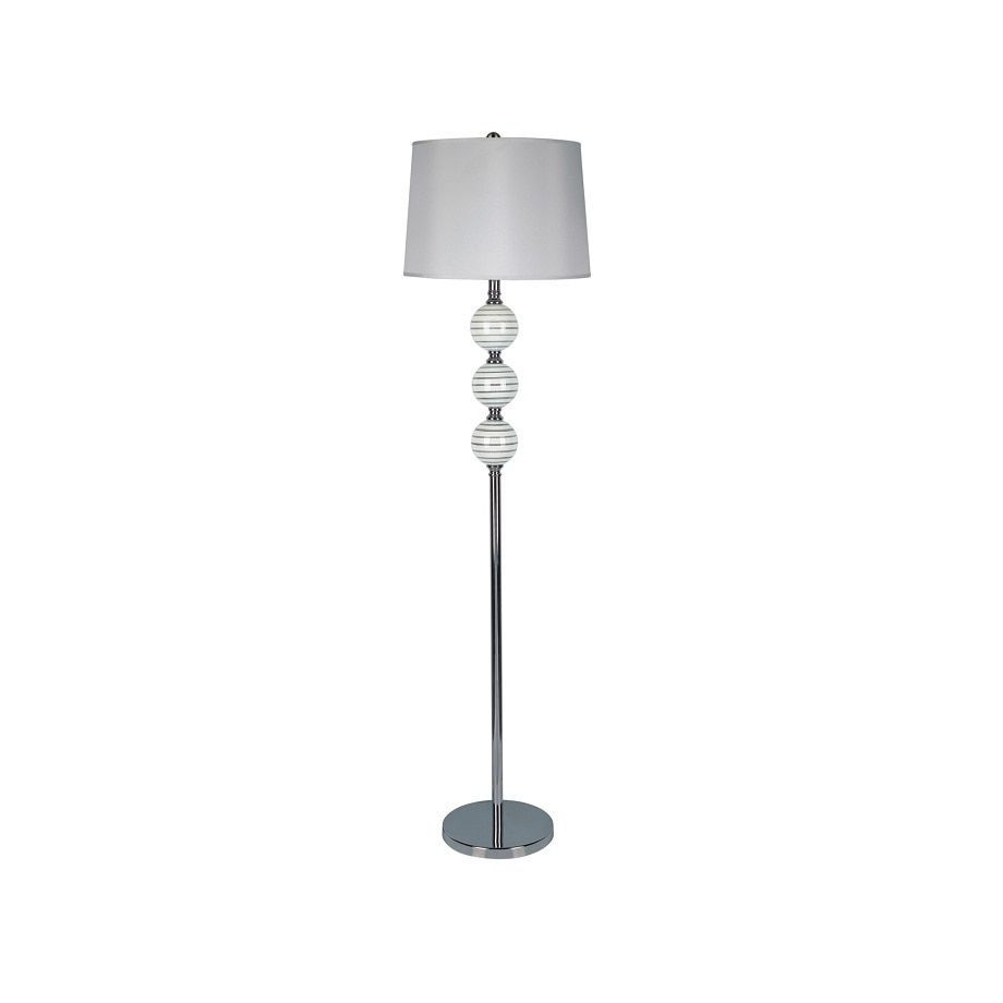 Q-Max Lux Triple-orb Floor Lamp with Chrome Base