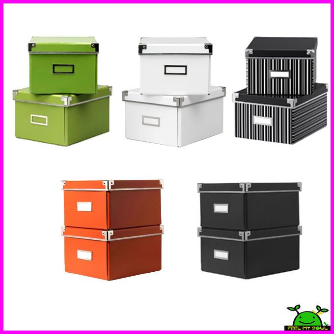 Ikea DVD Box Storage Container W/Lids U0026 Label Holders 2PACK New